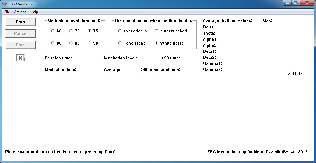 "The screen of the ""EEG Meditation"" application for Windows when you first start it."