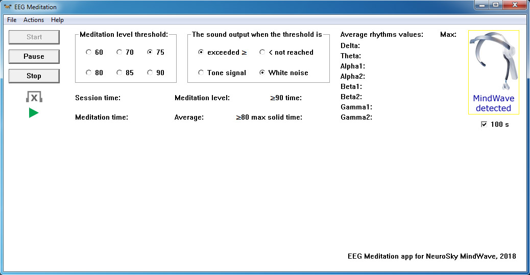 "An example of the screen of the ""EEG Meditation"" application for Windows when a NeuroSky MindWave neuro headset is detected."