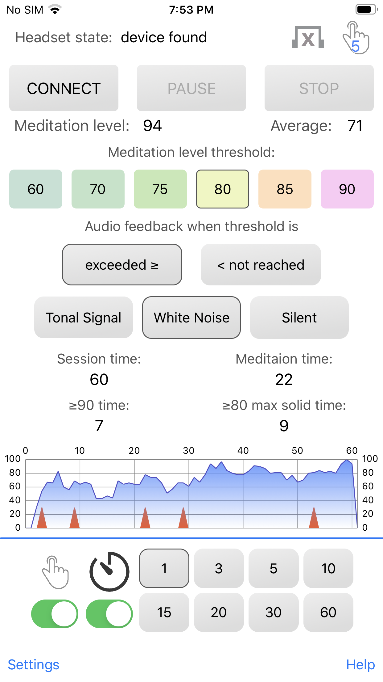 "The previous version of ""EEG-meditation"" iOS application"