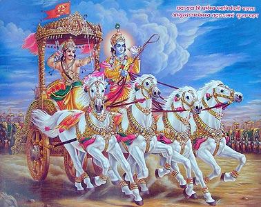 Кришна и Арджуна на колеснице во время битвы Махабхараты