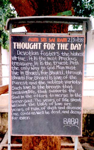 'THOUGHT FOR THE DAY' table, near Poornachandra Auditorium, 2/10/1998
