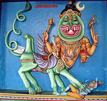 Шива в облике Шарабхи преодолел Нарасимху (воплощение Вишну), образ на стене храма Муннешварама на Шри-Ланке